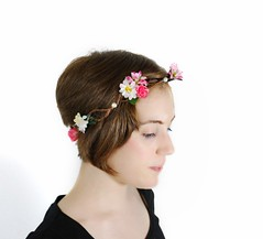 """""""Daisy and Rosie"""" Floral Crown (Amy Lilley) Tags: pink portrait white floral rose forest self vintage woodland berry amy handmade ooak dove halo vine garland bark boutique kawaii daisy romantic crown etsy bridal whimsical fs blushing lilley"""