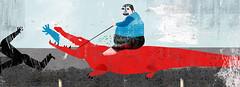 Another fat man (Mashkaman) Tags: red man illustration eating riding crocodile editorial strong corrupt