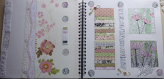 Simple Shapes Layout (Bunty B) Tags: design lace journal shapes fabric stitching swatches ledger embroider