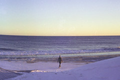 wintertime seashore (scott w. h. young) Tags: winter sunset sea snow love film beach yellow 35mm purple shore montauk