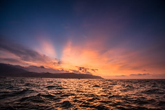 After Glow on the sea  (Sharleen Chao) Tags: ocean sunset sea sky night canon boat taiwan wave taipei rays  crepuscularrays afterglow partlycloudy 1635mm   canoneos5dmarkiii pwpartlycloudy
