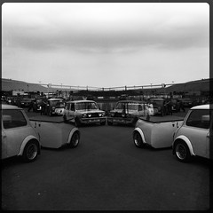 Mini In The Park - I really like how this photo turned out.. Maybe it will end up on the wall! :) (s i a n) Tags: bw reflection cool moody cloudy mini noflash trailer 2012 santapod evocative miniinthepark hipstamatic salvador84lens rockbw11film