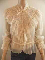 Victorian Inspired Ivory Chiffon & Ornamental Lace Ruffled Blouse Front (mondas66) Tags: ruffles lace victorian chiffon ascot blouse poet romantic elegant ornate ornamental lacy dainty prim frilly elegance jabot ruffle demure blouses frills frill ruffled flouncy flounce lacework frilled flounces frilling frillings crepedechine befrilled