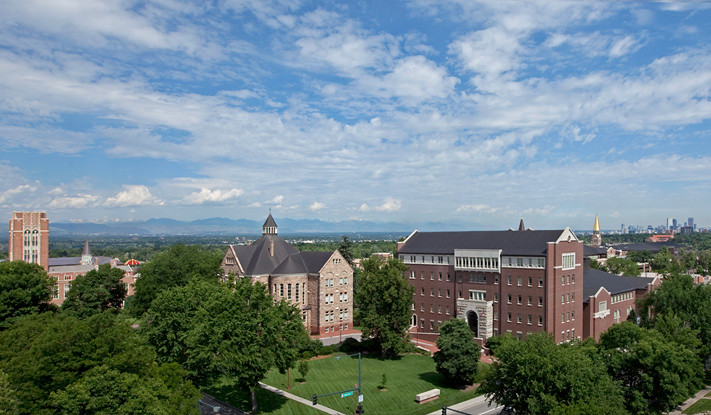 The campus offers views of the Rocky Mountains and Denver's skyline.