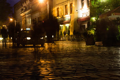 Ghosts of the past (martinstelbrink) Tags: leica history night lights taxi poland polska polen jewish cobbles krakw kazimierz movementblur krakau jewishquarters leicasummicron35mmf20i jewishrestaurants nex7 voigtlndernexvmadapter