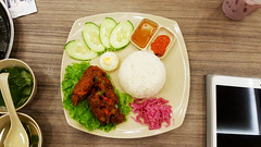 Rice chicken Thai style (Roving I) Tags: soup cucumber egg vietnam dining sauces cafes danang chickenrice thaicuisine