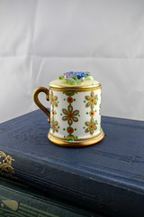 Antique Staffordshire Mini Cup with Lid (Lo & Co Vintage) Tags: china flowers england cup vintage antique retro handpainted british etsy staffordshire madeinengland demitasse cupwithlid locovintage