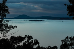 Blue Mist (robertdownie) Tags: trees light sky cloud mist mountain storm mountains rain weather fog clouds dark ominous australia hills valley nsw newsouthwales layers hunter laguna wilderness wollombi watagans warrawolong