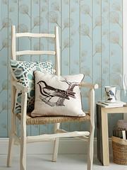 Bird Pillow & Botanical Wallpaper (Heath & the B.L.T. boys) Tags: wallpaper bird botanical chair basket pillow neutral endtable