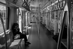 'Till the end of the car / one far two near (zgr Grgey) Tags: bw reflection car 35mm subway vanishingpoint nikon candid istanbul repetition d750 2016 samyang marmaray kazleme