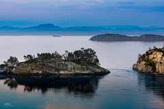 Ship between golds and blues (huddart_martin) Tags: trees sea seascape mountains water norway landscape gold islands golden ship calming blues cliffs golds fjord distance sotra ygarden