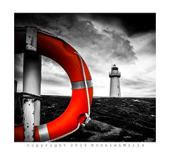 """D"" is for.... (RonnieLMills) Tags: life red lighthouse wall harbor harbour colouring selective donaghadee preserver disfordonaghadee"