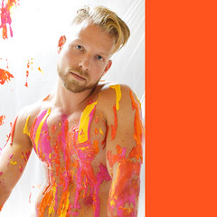 no fear of making changes, vol. 2 (Davey-van-Lienden) Tags: pink red orange holland art colors dutch muscles yellow painting europe paint artist nipples artistic body masculine joey thenetherlands frame pollock abs davey jacksonpollock artphoto dutchie