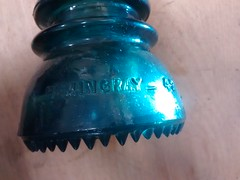 Insulators June 2016 (ianulimac) Tags: buffalo ny reuse reuseaction insulator telephonepole glass blue green turquise sand iron minerals utilities electricity nonconductor light bell utilitypole old antique hardware colored wire illuminated found glow diffract
