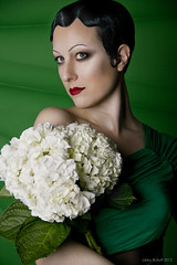 Portrait of M. in a Green Dress (exoskeletoncabaret) Tags: seattle flowers 1920s portrait green floral washington 1930s makeup artdeco eyebrows tamaradelempicka cubism fingerwaves mollymitchell exoskeletoncabaret libbybulloff lindseywatkins unsinkablemolly 57biscayne