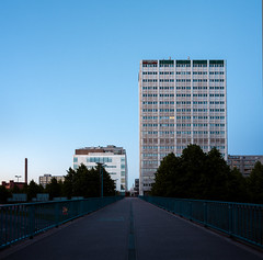 Summer solstice night on a bridge (VesaM) Tags: road summer building architecture night finland office helsinki seasons structures officebuilding architectural highrise summertime summersolstice edifice edifices commercialbuilding stitchedpanorama