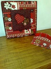 """Quadro """"Heart´s"""" (Atelier na Casinha by Re Molinaro) Tags: feitoàmão quadros cartonmousse patchworkembutido"""