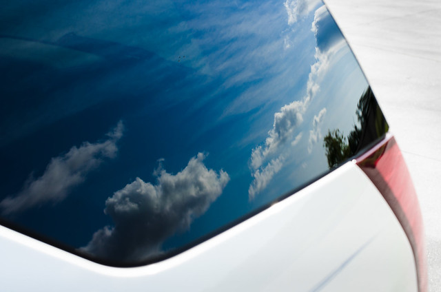 blue sky reflection clouds cadillac srx nikon50mm nikond7000
