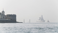 (The New Motive Power) Tags: white reflection tower water modern boats coast still dock waves sailing ship bright harbour ripple horizon navy calm historic destroyer silence solent round portsmouth serene tug hazy distance warship southsea hmsdaring d32 canon7d