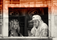 gossip time.. (White_V) Tags: street girls bus london canon eyes drinking 2012 texting gossips gossiptime