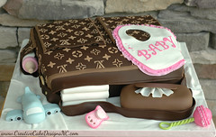 LV Diaper Bag Cake (Christina's Dessertery) Tags: pink baby brown girl cake bag airplane louis bottle lace christina bib creative johnson case diaper designs diapers vuitton pacifier rattle wipes frill lvdiaperbag