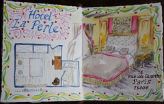 Paris Travel Journal, July 2012 (noriko.stardust) Tags: travel paris france colour art illustration writing watercolor painting notebook fun hotel floor drawing interior diary illustrated journal craft blogger note watercolour colourful floorplan notebookism