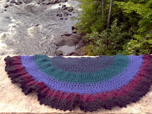 Afternoon Tea Shawl in Handspun Loop Bullseye Bump