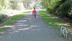 What was she thinking? - Law breaking dog owner in Burnaby's Foreshore Park (D70) Tags: she park woman dog canada was bc off thinking area only burnaby what law leash owner foreshore breakin