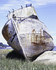 Point Reyes Boat_01 (NjKolby) Tags: ocean old sky water station clouds point bay harbor boat sand kodak large iso epson weathered 4x5 format 100 chamonix e6 reyes jobo e100g v700 tetenal cpp2 045n2