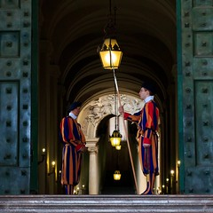 Papal Swiss Guards / The Vatican (Maria_Globetrotter) Tags: door blue red portrait orange vatican rome glass smile june yellow bronze catchycolors swiss or military guard sacra vaticano apostolicpalace gb helvetica svizzera custodia renaissance guardia glace 2012 swissguard swissguards pontifical papal holysee gbglace pontificia schweizergarde gbglass guardiasvizzerapontificia helvetiorum cohors pedestris pontificis mariasweden dascorpsderppstlichenschweizergarde
