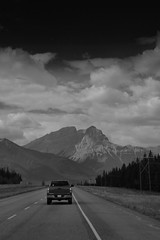 (advance.to.go) Tags: road travel urban blackandwhite white lake canada black mountains travelling calgary nature up tarmac rural america wonder rockies grey highway skiing natural hill rocky roadtrip canadian filter journey alberta oil manmade northamerica banff rockymountains geography geology pick lakelouise province lakemoraine