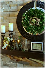Boxwood Wreath on Spring Mantel (dining delight) Tags: bunny birdcage fireplace ivy lantern candlesticks minilights heisrisen boxwoodwreath blackroundmirror |springmantel