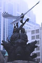 In Honour (flashfix) Tags: bear blue ontario canada bird monument lines animals statue fog canon buildings 50mm eagle ottawa elgin elk bison aroundtown confederationpark 2014 downtownottawa 60d aboriginalcanadians canaon60d 2014inphotos april142014 elignstreet
