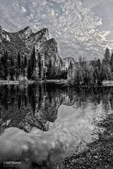 Brothers in Arms (Jeff Stamer (Firefallphotography.com)) Tags: blackandwhite bw yosemite predawn hdr mercedriver threebrothers