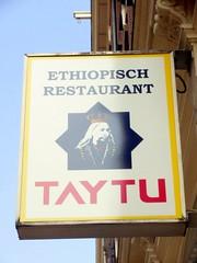 Ethiopian Restaurant (Quetzalcoatl002) Tags: street food amsterdam sign restaurant drought ethiopia starvation taytu taytubetul