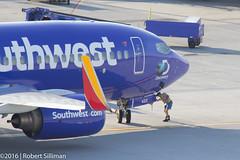 Southwest Airlines Boeing 737 N422WN -Shark Week--2529 (rob-the-org) Tags: iso100 noflash 300mm f90 cropped boeing decals 737 southwestairlines terminal4 phx discoverychannel phoenixaz sharkweek 160sec kphx skyharborinternational n422wn parkinggaragep8