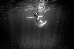 Underwater Angel (JSTAR377) Tags: vacation blackandwhite holiday reflection water angel sailing underwater dress bubbles adventure caribbean breathe float underwatermodel