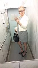 Todays outfit (magdalena_m) Tags: woman stockings glasses dress feminine makeup swedish transgender nails jacket tranny blonde transvestite trans mtf maletofemale transgirl
