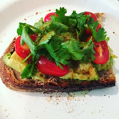 My wife made me an excellent avocado toast for lunch (Denis Gobo) Tags: food tomato lunch avocado toast cayenne foodporn cilantro foodie