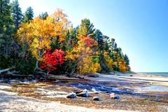 Hurricane River Flowing Into Lake Superior (crookedtreephotography) Tags: autumn fall beach fallcolor michigan fallcolors greatlakes rivers beaches upperpeninsula lakesuperior greatlake picturedrocksnationallakeshore hurricaneriver