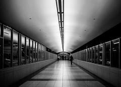 Pedway (Ian McKenzie) Tags: street blackandwhite pen walking vanishingpoint downtown edmonton tunnel olympus lightroom pedway panasonic20mmf17 epl2 ianmckenziephotography