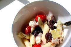 Greek Soy Curl Pasta Salad with Vegan Feta (Vegan Feast Catering) Tags: tomato lunch salad vegan herbs olive pasta oilandvinegar eyefi soycurl