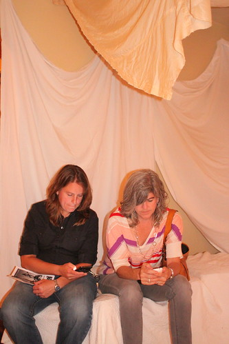 Diane Barber and Karen Niemeier in parachute room