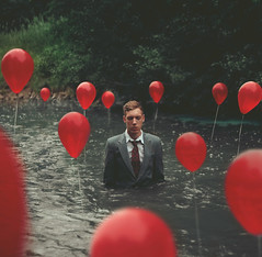 (Kyle.Thompson) Tags: boy red portrait lake guy self surreal 365 ballons kylethompson ijusttiedmetalwasherstotheendofeachstringhaha