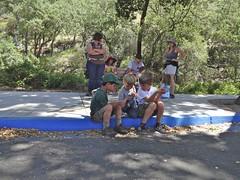boys huddling (maureenld) Tags: camping friends fun 40th bash sam may ethan db josh annual pinnacles 2012 pinnaclesnationalmonument bethereorbesquare desertbash btobs