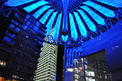 Sony Center at Night - Potsdamer Platz - Berlin, Germany (Blue Rave) Tags: nightphotography blue light building berlin lines architecture night germany deutschland lights office europa europe nightimages skyscrapers cyan illumination officebuilding ceiling illuminated line dome potsdamerplatz sonycenter nightshots mitte offices thecolorblue 2012 berlinmitte thecolorcyan