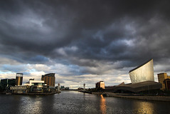 Big sky........ (Chrisconphoto) Tags: storm clouds manchester canal northwest salfordquays bigsky lowry imperialwarmuseum iwm goodlight