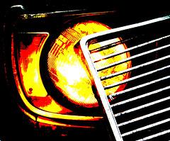 Junk Art In The Dark_0024 Creative (janetliz) Tags: lightpainting car night evening automobile graphic creative grill headlight mcleans autoyard robkennedyworkshop