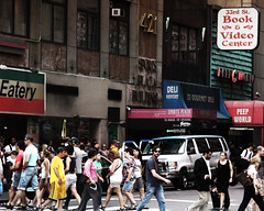 Italian Eateries, Tourists, and Peep Shows (mheidelberger2000) Tags: street plaza nyc newyorkcity summer people urban cars sports italian manhattan books tourists midtown porn pedestrians pornography gothamist crosswalk automobiles pennstation eatery garmentdistrict peepworld peepshows