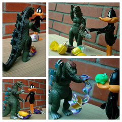 Hatch of the Titans: the story, condensed (John 3000) Tags: cute brick animals monster collage movie asian toy toys japanese duck funny icons treasure dinosaur action reptile chocolate character magic egg cartoon capsule kinder frog lizard huevos godzilla toad surprise series animales daffy sapo prizes rana figures choco juguetes gojira toho warnerbrothers hatching hatchling looneytunes knockoff
